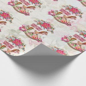 Vintage Rocking Horse & Poinsettia Pattern Wrapping Paper