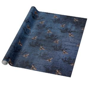 Vintage Romantic Blue Bees Flowers Wrapping Paper
