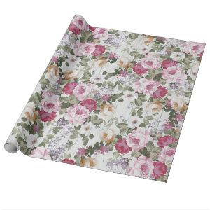 Vintage rose pink floral rustic white wood pattern wrapping paper