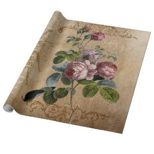 Vintage. Roses and Script. Wrapping Paper
