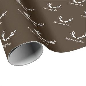Vintage rustic deer antler hunting theme brown wrapping paper
