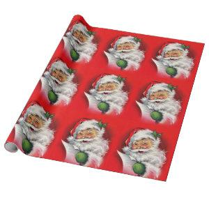 Vintage Santa Claus Checking Christmas List Wrapping Paper