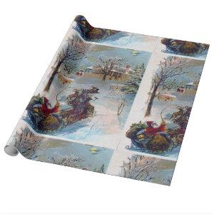 Vintage Santa Claus Dashing Through The Snow Wrapping Paper