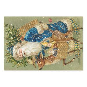 Vintage Santa Claus Merry Christmas Reindeer Wrapping Paper Sheets