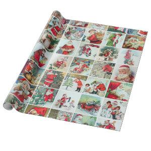 Vintage Santa Collage Wrapping Paper