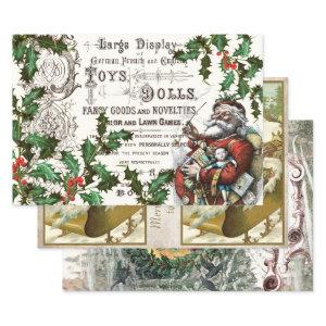 VINTAGE SANTA HEAVY WEIGHT DECOUPAGE PRINTS WRAPPING PAPER SHEETS