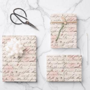 Vintage Script Wrapping Paper Sheets