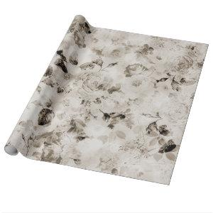 Vintage shabby elegant white gray roses floral wrapping paper