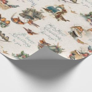 Vintage Snow Birds and Christmas Greetings Wrapping Paper