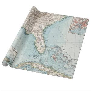 Vintage Southeastern US and Caribbean Map (1900) Wrapping Paper