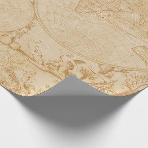 Vintage Tan World Map Wrapping Paper