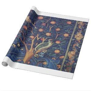 Vintage Tapestry Birds Floral Design Woodpecker Wrapping Paper