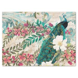 Vintage Teal Peacock and Pink Floral Decoupage Tissue Paper