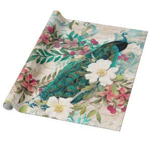 Vintage Teal Peacock and Pink Floral Wrapping Paper