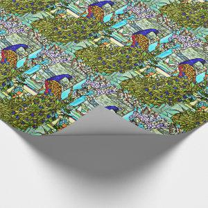 Vintage Tiffany Stained Glass Peacock Wrapping Paper