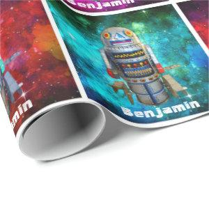 Vintage toy robot multi-color galaxy add your name wrapping paper