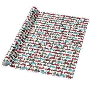 Vintage Truck Christmas Holiday Tree Buffalo Plaid Wrapping Paper