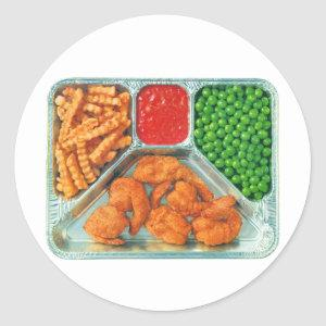 Vintage TV Dinner Shrimp With French Fries Classic Round Sticker