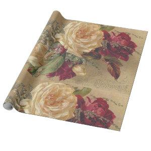 Vintage Victorian Cream Rose Gift / Craft Wrapping Paper