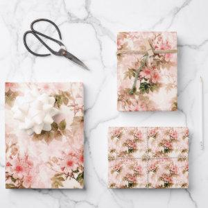 Vintage Victorian Pink Floral Elegant Chic Pattern Wrapping Paper Sheets