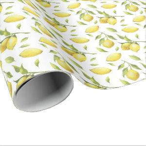 Vintage Watercolor Lemons and Greenery Pattern Wrapping Paper