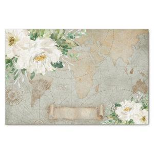 Vintage White Ivory Floral Old World Map Decoupage Tissue Paper