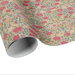 Vintage William Morris Rose Pink Yellow Bird Flor Wrapping Paper