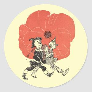 Vintage Wizard of Oz, Dorothy with Poppy Flowers Classic Round Sticker