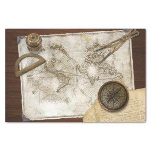 Vintage World Map And Tools Tissue Paper