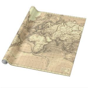 Vintage World Map Sepia Wrapping Paper