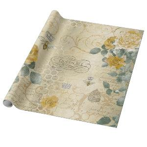Vintage Yellow Gold Roses Queen Bee Wrapping Paper
