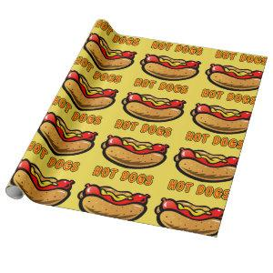 Vintage Yellow Hot Dog Birthday Party Wrapping Paper