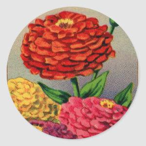 Vintage Zinnia French Seed Package Classic Round Sticker