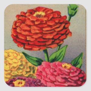 Vintage Zinnia French Seed Package Square Sticker