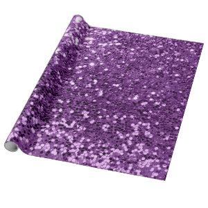 Violet Purple Amethyst Sequin Glitter Shiny Effect Wrapping Paper