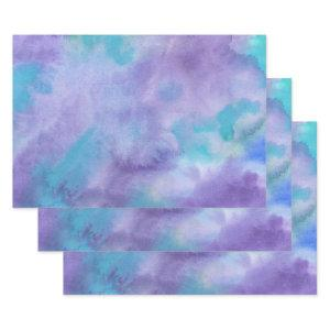 Violet Purple Teal Green Abstract Watercolor Wrapping Paper Sheets