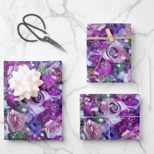Violet Roses Garden Wrapping Paper Sheets