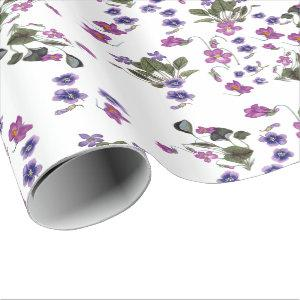 """Violets Garlands Floral 30"""" x 6' Wrapping Paper"""
