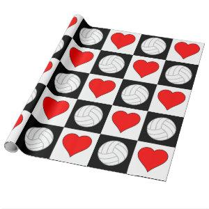 Volleyball and Hearts Black & White Checkered Wrapping Paper