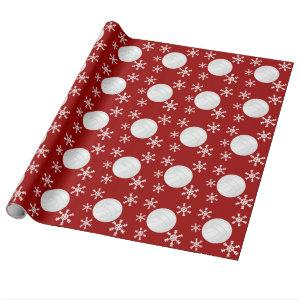 Volleyball Snowflake Holiday Wrapping Paper
