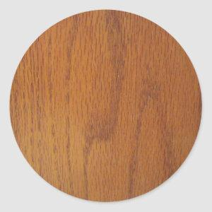 Warm Wood Grain Texture Classic Round Sticker