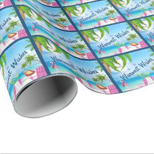 Warmest Wishes Cute Birds Beach Christmas Holiday Wrapping Paper