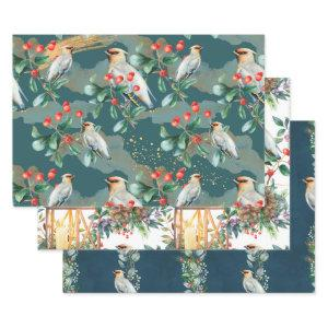 Watercolor Bird and Lantern Design Christmas Wrapping Paper Sheets