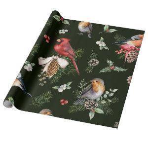 Watercolor Birds Christmas Pattern Wrapping Paper