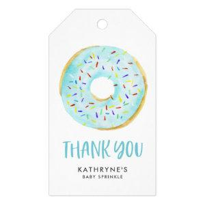 Watercolor Blue Donuts Baby Sprinkle Thank You Gift Tags