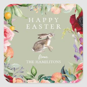 Watercolor Bohemian Floral Easter Bunny Square Sticker