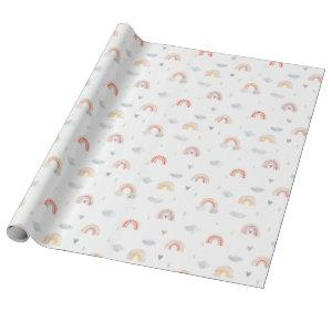Watercolor Boho Pink Rainbow and Clouds Wrapping Paper