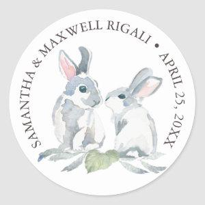 Watercolor Bunny Rabbits Favor Sticker