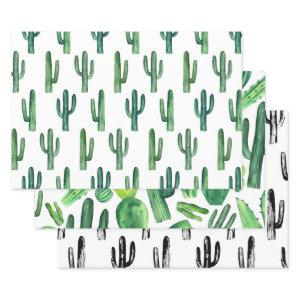 Watercolor cactus pattern. Green modern cacti Wrapping Paper Sheets