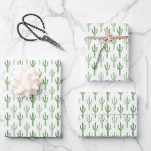 Watercolor Cactus Pattern Wrapping Paper Sheets